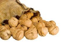 Много грецких орехов падая вне мешочек из ткани изолировали Стоковое Изображение