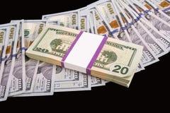Много деньги на черной предпосылке Стоковая Фотография RF