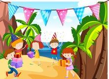 Много детей имея партию на пляже иллюстрация штока