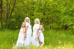 Многодетная семья отдыхает в природе Стоковые Изображения