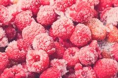 Много замороженных ягод для естественной предпосылки Селективный фокус тонна Стоковое Изображение RF