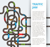 Много извилистые дороги с красочными автомобилями и тележками Движение co стоковые изображения rf