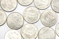 Много Индия монетки одной рупии Стоковая Фотография RF