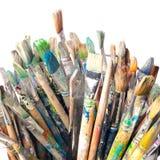 Много используемых paintbrushes Стоковая Фотография RF