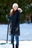 много копая женщина снежка слишком Стоковое Изображение RF
