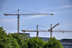 Много краны высотного здания промышленные на предпосылке голубого неба и зеленых деревьев стоковое фото