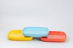 Много красят поддонник меламина, kitchenware Стоковые Изображения