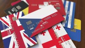 Много кредитных карточек с различными флагами, подчеркнули карту банка с флагом чехии иллюстрация вектора
