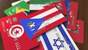 Много кредитных карточек с различными флагами, подчеркнули карту банка с флагом Пуэрто-Рико иллюстрация штока