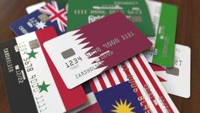 Много кредитных карточек с различными флагами, подчеркнули карту банка с флагом Катара иллюстрация вектора