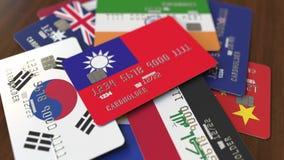 Много кредитных карточек с различными флагами, подчеркнули карту банка с флагом Тайваня иллюстрация штока