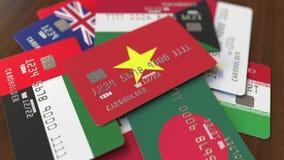 Много кредитных карточек с различными флагами, подчеркнули карту банка с флагом Вьетнама иллюстрация вектора
