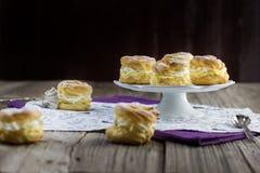 Много малых венков с взбитым cream традиционным чехословакским десертом Стоковые Изображения RF