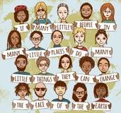 Много маленьких людей показывая доброту по всему миру Стоковая Фотография RF