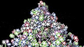 Много монеток летая казино Много обломоки покера на черной предпосылке Красочная анимация монетки Концепция казино иллюстрация штока