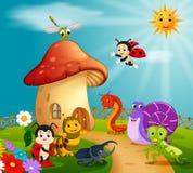 Много насекомое и дом гриба в лесе иллюстрация вектора
