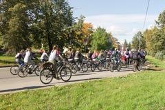 Много неопознанных людей на велосипедах, который включили в городской задействуя праздник Стоковая Фотография RF