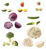 Много овощи и плодоовощей изолированных на белизне Стоковая Фотография