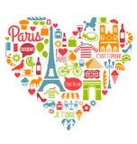 Много ориентир ориентиры и привлекательностей значков Парижа Франции Стоковое фото RF