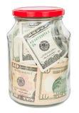 Много долларов в стеклянном опарнике Стоковые Изображения RF