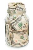 Много долларов в стеклянном опарнике Стоковые Фотографии RF