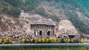 много пещер на западном холме в гротах Longmen Стоковое Фото