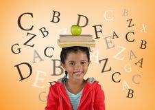 Много писем вокруг девушки с книгами и яблока на голове перед оранжевой предпосылкой Стоковые Изображения RF