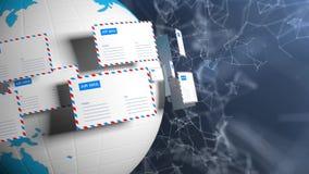 Много писем летают в круг Почта интернета Доставка корреспонденции всемирно Высокотехнологичная предпосылка иллюстрация штока