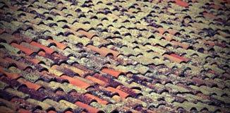Много плиток на крыше старого дома стоковые изображения