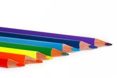 Много покрашенных карандашей стоковые изображения rf