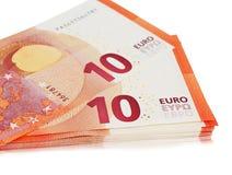 Много 10 примечаний евро Стоковая Фотография
