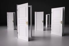 Много путей выбрать от, открыть двери Процесс принятия решений Стоковая Фотография RF