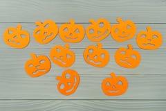 Много различных силуэтов бумаги тыквы хеллоуина Стоковое Изображение