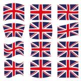 Много различных стилей флага для Великобритании иллюстрация вектора