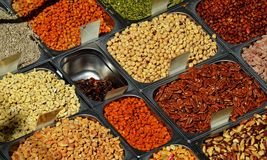 Много различных семян готовых для еды Стоковое Изображение
