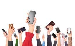 Много рук держа мобильные телефоны иллюстрация штока