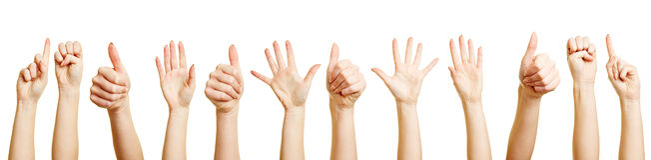 Много рук делая различные жесты стоковое фото rf