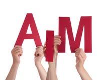Много рук людей держа красную цель слова Стоковое Изображение RF
