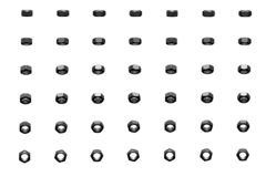 Много серые, металлические гайки вращали различными углами изолированные на бело- красивой промышленной 3D иллюстрации, pic для и иллюстрация штока