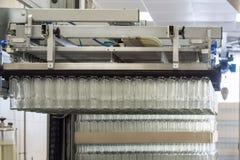 Много стеклянные бутылки вися в пневматическом gripper Разгржать стеклянные бутылки от паллетов Стоковые Изображения RF