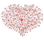 Много стрелки летая в сердце Стоковые Фотографии RF