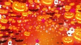 Много украшение характера хеллоуина Иметь потеху на партии хеллоуина Тыквы Милая анимация мультфильма Оранжевая предпосылка сток-видео