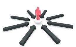 Много черных стрелок атакуют человека стоя на белой плите Стоковые Фотографии RF