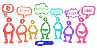 Много людей видят одну вещь в различных аспектах (3D) --в словах Стоковое Изображение RF