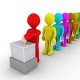Много людей в линии взятии поворачивают к голосованию иллюстрация штока