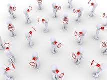 Много людей говоря с мегафонами Стоковое фото RF