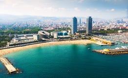 Много яхт лежа на порте в Барселоне, Испании Стоковые Фото