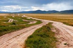 Много дезертируют сельскую дорогу Монголию Стоковая Фотография