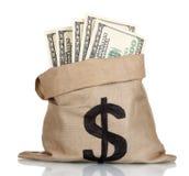 Много 100 счетов доллара в мешке Стоковое Изображение