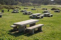 Много benchs и таблиц камня в парке Стоковые Фото